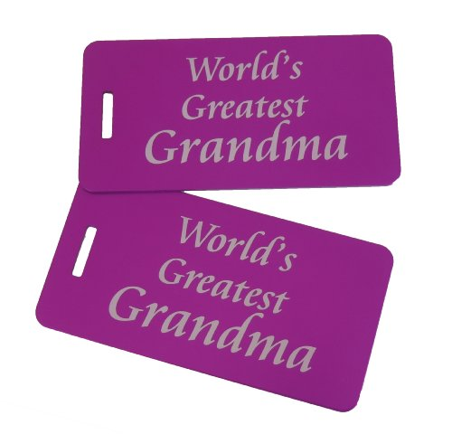 World's Greatest Grandma Luggage Tag Set of Two, Purple - Worlds Greatest Tag