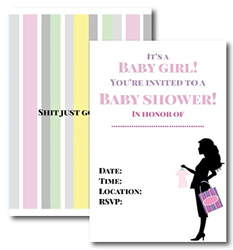 Sh Just Got Real Girl Baby Shower Invitations by L and P Designs Set Includes 50 Invitations with Envelopes -