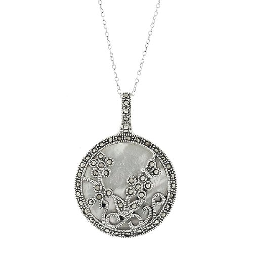 """Mother of Pearl & Marcasite Sterling Silver Pendant With 18"""" Silver Chain"""