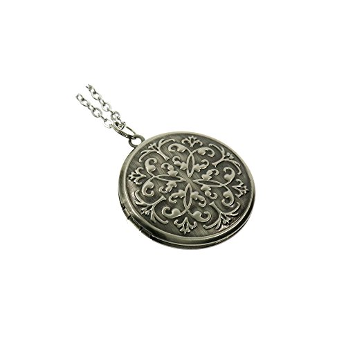 Vintage Style Antiqued Silver Flower Round Photo Locket Pendant Long Necklace for Women 27'' Vintage Silver Lockets