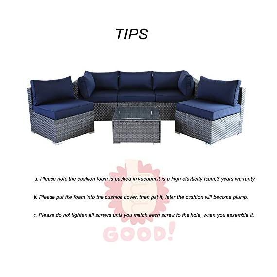 JETIME Outdoor Rattan Furniture 6pcs Patio Grey Conversation Set Garden Sofa Set Sectional Couch with Navy Cushion - -Outdoor 6pcs Sofa set Size:-Corner Sofa:29.5 x 29.5 x 25.6 in -Middle Sofa: 25.6 in x 29.5 in x 25.6 in -Tea Table 25.6 in x 25.6 in x 13.4 in -Seat Sofa Height:13.4 in -Back Sofa Heigt:25.6 in -Cushion thickness:4 inch -Patio Rattan Furniture Material:PE Rattan,Steel Frame ,Polyester Fabric,Cushion is waterproof. -Garden Wicker Conversation Sofa includes:-1 x Tea Table/Ottoman -2 x Corner Sofas -3 x Middle Sofas - patio-furniture, patio, conversation-sets - 41LV4EeOQaL. SS570  -