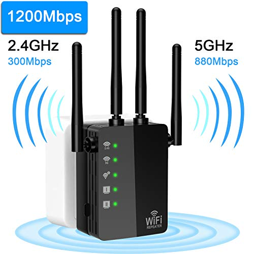WiFi Extender, AC1200 WiFi Range Extender Signal Booster Dual Band 2.4G&5G Wireless Repeater with 4 External Advanced Antennas, Professional Repeater Mode Supported