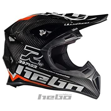 HEBO Enduro-MX Raptor Carbon Casco, negro con verde, Talla XS