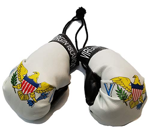 BUNFIREs US Virgin Islands USVI Flag Mini Banner Boxing Gloves Rear View Mirror VI Country Flag Banner