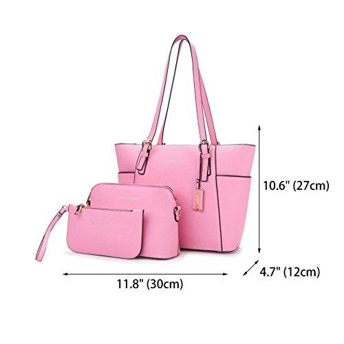 3pcs de Mujer y Carteras Rosa mano y Shoppers Set Bolsos de bolsos clutches bandolera hombro q7A7Uxtrw