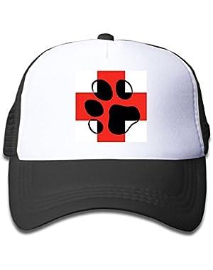 Boys&Girls Red Mesh Cap Trucker Baseball Hats Cross Pink Paw