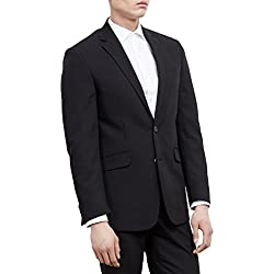 Kenneth Cole REACTION Men's Black Solid Suit Separate Jacket, Black, 38 S