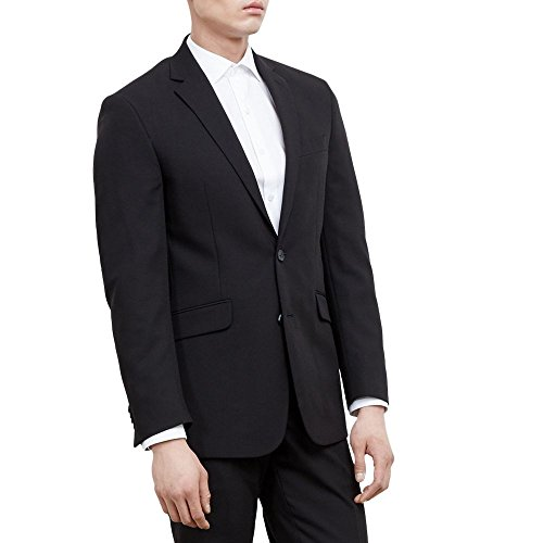 Solid Two Button Suit Jacket (Kenneth Cole REACTION Men's Black Solid Suit Separate Jacket, Black, 42 Long)