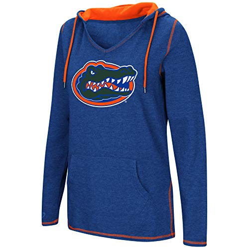 Spring Florida Ncaa Gators (Colosseum Women's NCAA-Scream It!- Dual Blend-Fleece V-Neck Hoodie Pullover Sweatshirt-Florida Gators-Blue-Medium)