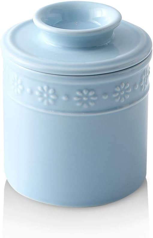 KOOV Ceramic Butter Crock, Butter Keeper for Counter, Butter Dish Big Capacity, Daisy Series (Sky)