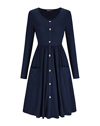 OUGES Women's Long Sleeve V Neck Button Down Midi Skater Dress with Pockets(Navy,XL)