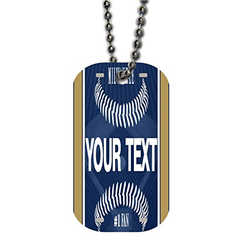 BRGiftShop Customize Your Own Baseball Team Milwaukee Single Sided Metal Military ID Dog Tag with Beaded Chain