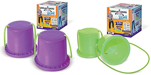 Geospace Walkaroo Ican Bucket Stilts, Green and Purple, (Pack of 2 Pairs)