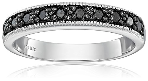 Sterling Silver Diamond Wedding Band (1/4cttw, I2 Clarity), Size 9 by Amazon Collection
