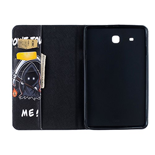 Ukayfe Flip funda de cuero PU para Samsung Galaxy TAB E 9.6 T560, Leather Wallet Case Cover Skin Shell Carcasa Funda para Samsung Galaxy TAB E 9.6 T560 con Pintado Patrón Diseño, Cubierta de la caja F Muerte