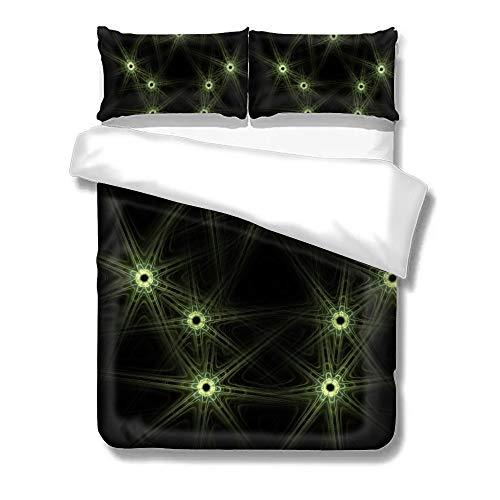 Pealrich Set of Three On The Bed Green Fluorescent Green Line Hexagon Home Bedding Duvet Cover Set Bed Sheets Set Soft Comfortable Breathable King Size