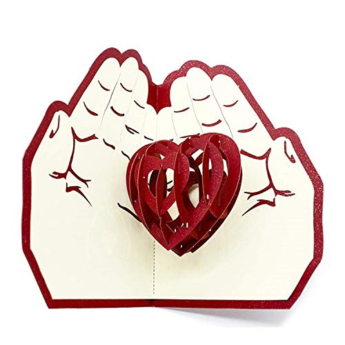(OUOK 3D Pop UP Cards Flowers Birthday Card Anniversary Gifts Postcard Maple Cherry Tree Wedding Invitations Greeting Cards,Heart in The Hands)