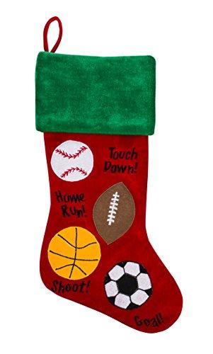 """20"""" Multi-Sport Christmas Stocking – Baseball, Football, Basketball, Soccer"""