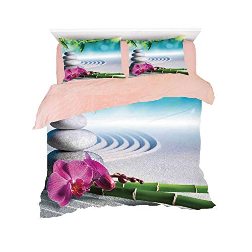(All Season Flannel Bedding Duvet Covers Sets for Girl Boy Kids 4-Piece Full for bed width 4ft Pattern Customized bedding for girls and young children,Spa Decor,Sand Orchid and Massage Stones in Zen Ga)