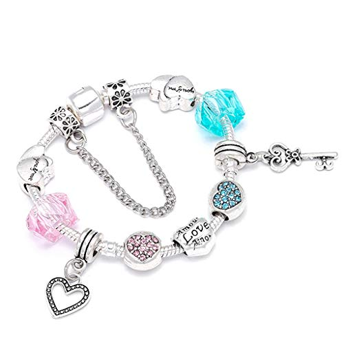 (Gift for Girlfriend Metallic Color Crystal Beads Charm Bracelet For ladies With Boy; Girl Couple Fine Bracelets Lover Valentine's Gift Decoration)