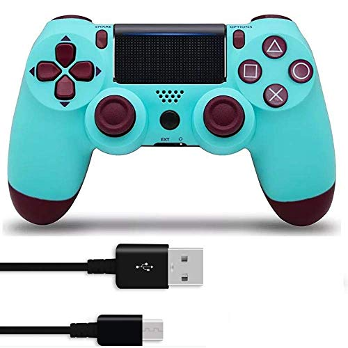 (PS4 Controller Wireless Controller with USB Cable for DualShock 4 & Sony Playstation 4 - Berry Blue)