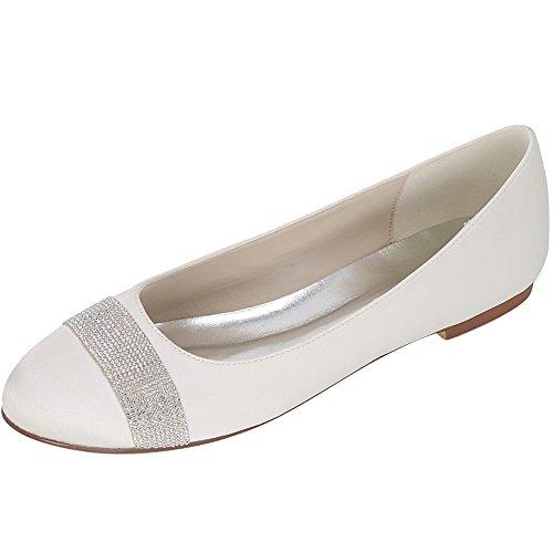 Loslandifen Mujeres Round Toe Satin Flats Prom Noche Zapatos De Novia De Tacón Bajo De Satén Blanco