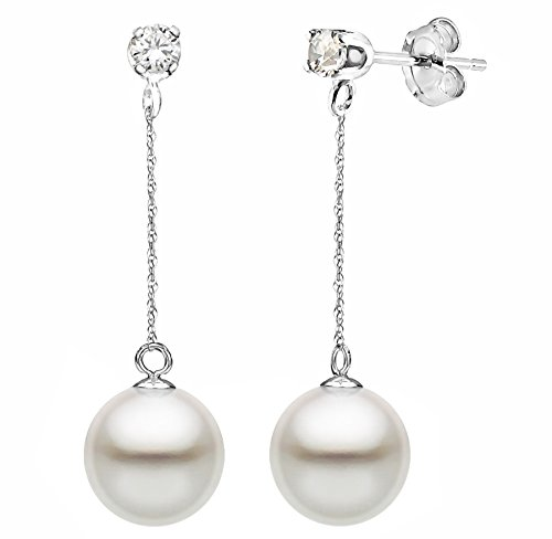 14K White Gold 1/10cttw Diamond 9-9.5mm White Freshwater Cultured Pearl Stud Dangle Earrings
