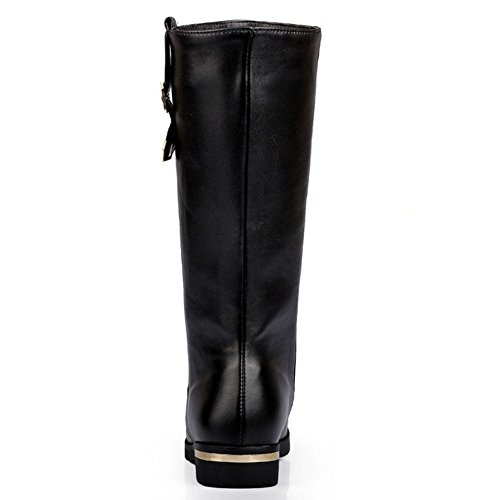 Calf Fashion Black Boots Riding COOLCEPT Flats Mid Women Low Un0SP0