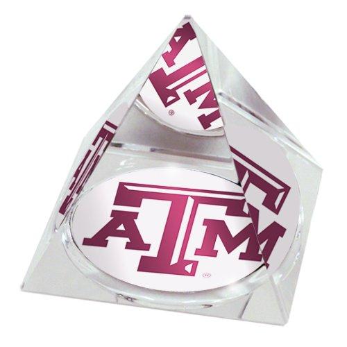 "NCAA Texas A&M Aggies logo in 2"" Crystal Pyramid with Colored Windowed Gift Box -  Sports Collector's Guild, TexasA&MPyramid"