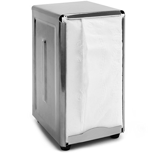 Back of House Ltd. Commercial Spring-Load Stainless Steel Tall-Fold Napkin Dispenser for Restaurants, Diners, & Home Use