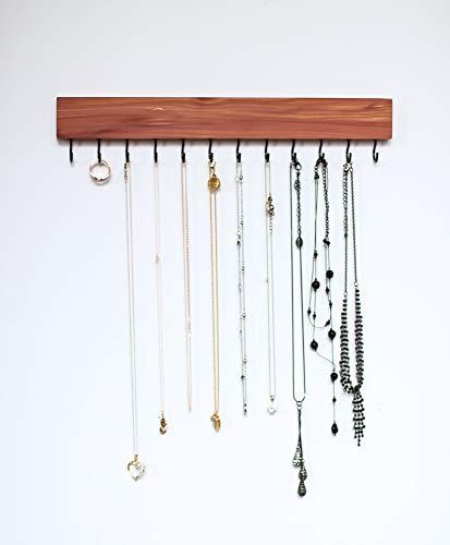 (Cedar NATURAL Wood Wall Jewelry Organizer/Necklace Bracelet Handmade Holder Hooks Key Holder Hanging Stand Rustic Decor/Best gift idea/hooks on bottom)