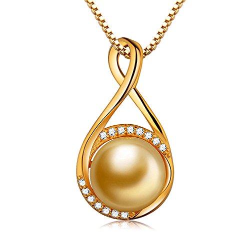 (Rakumi Sterling Silver Golden Sea Shell Pearl Pendant Necklace 18