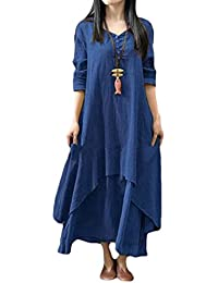 5640399fec0b Plus Size Long Sleeve Linen Loose Kaftan Casual Dress. KLJR-Women