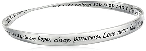 "Sterling Silver ""Love Is Patient, Love Is Kind"" Twisted Bangle Bracelet 41LV8WVUCML"