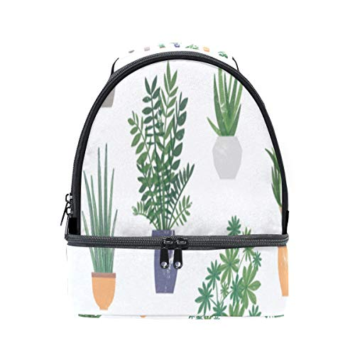 House Home Green Lovely Plants Portable School Shoulder Tote Lunch Bag Handbag Kids Double Lunch Box Reusable Insulated Cooler For Women Student Travel Outdoor ()
