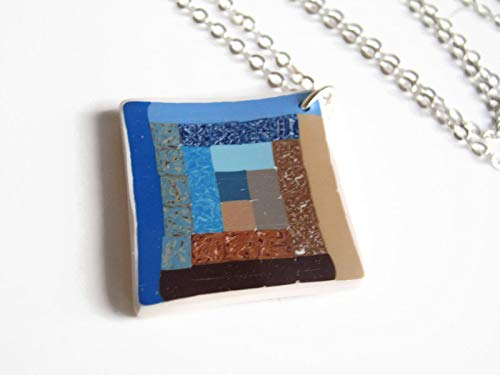 """18"""" Log Cabin Quilt Block Necklace .925 Sterling Silver, Limited Edition Polymer Clay, Blue and Brown Jewelry from Abundant Earth Works"""