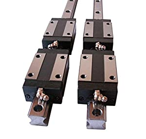 Joomen CNC Set Multiple Width and Length 2x Linear Guideway Rail 4x Square type carriage bearing block by Joomen