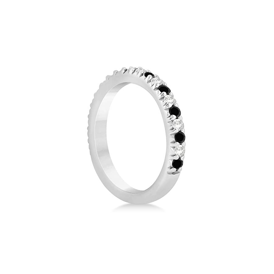 (0.60ct) 14k White Gold Black Diamond and Diamond Accented Prong Set Wedding Band