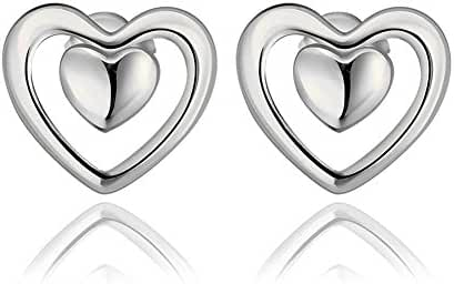 Fashion Patinum Plated Hollow Out Heart Stud Earrings Women-Alan M. Arevalo