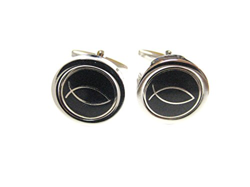 Black and Silver Toned Religious Fish Cufflinks (Lapel Ichthus Pin Fish)