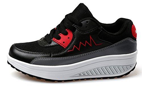 Ausom Plate-forme De Confort Des Femmes Cales Chaussures De Tonification Marche Fitness Travailler Sneaker Noir