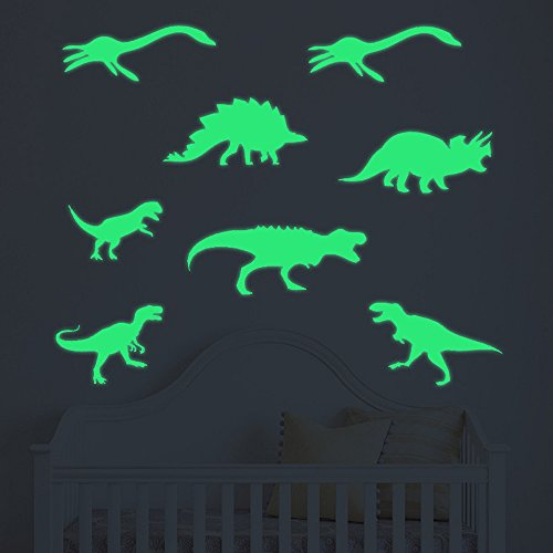 9Pcs Glow in The Dark Dino Wall Stickers, E-Scenery Peel and Stick DIY 3D Wall Decals Mural Art Wallpaper for Kids Room Home Nursery Party Window Decor, Green]()