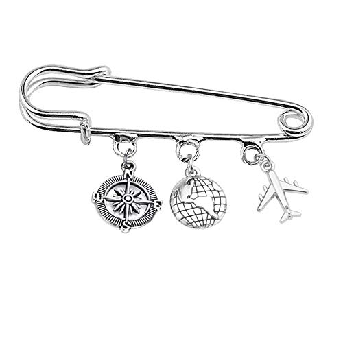 FEELMEM Travel Safety Pin Brooch Compass Airplane World Charm Kilt Pin Brooch Traveler Graduation Gift Retirement Gift (RG-Compass Airplane)