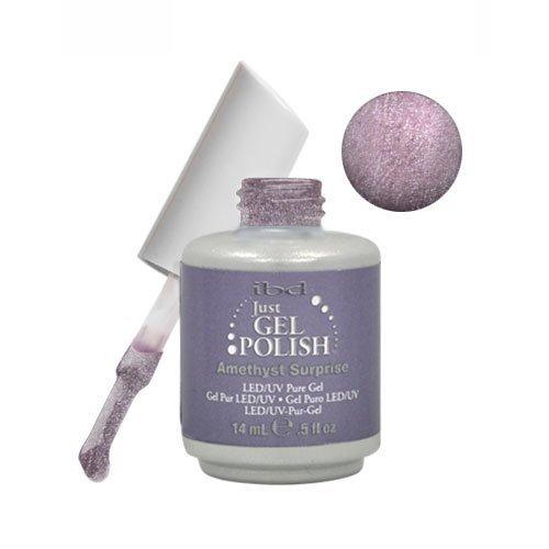 IBD Just Gel AMETHYST SURPRISE Soak Off Silver Nail Polish U