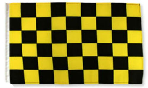 ALBATROS 12 inch x 18 inch Black with Yellow Checkered Checker Race Sleeve Flag for use on Boat, Car, Garden for Home and Parades, Official Party, All Weather Indoors Outdoors