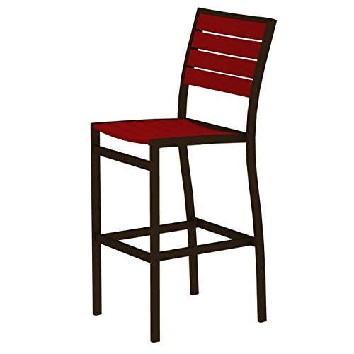 (Euro Bar Side Chair Finish: Textured Bronze, Seat and Back Finish: Sunset Red)