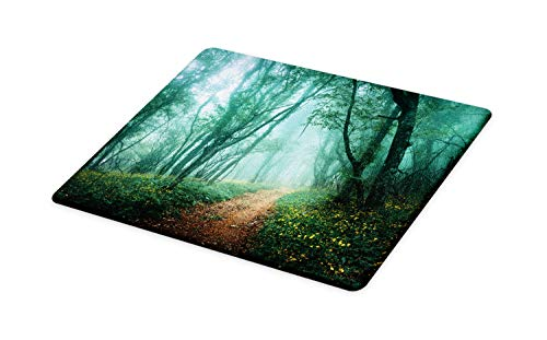 (Lunarable Woodland Cutting Board, Mysterious Twilight Forest with Fog and Green Tones Leaves Atmosphere, Decorative Tempered Glass Cutting and Serving Board, Small Size, Multicolor)
