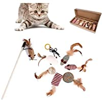 TIM Cat toys 7-piece interactive kitty toy stick series gift box fun cat toy set natural color sisal stick teasers with…