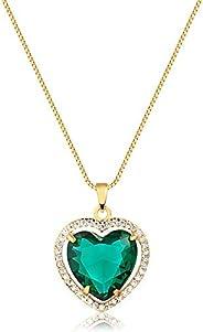 Colar de coração c/pedra verde cravejados folheado em ouro