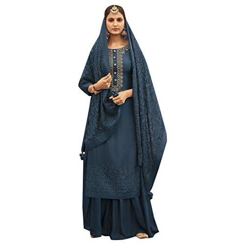 - Pure Silk Punjabi Pakistani Formal Wedding Function Garara Ready to Wear Salwar Kameez Palazzo Muslim 7425 (8, Royal Blue)